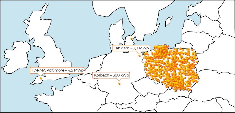 Biomar - mapa realizacji instalacji fotowoltaicznych